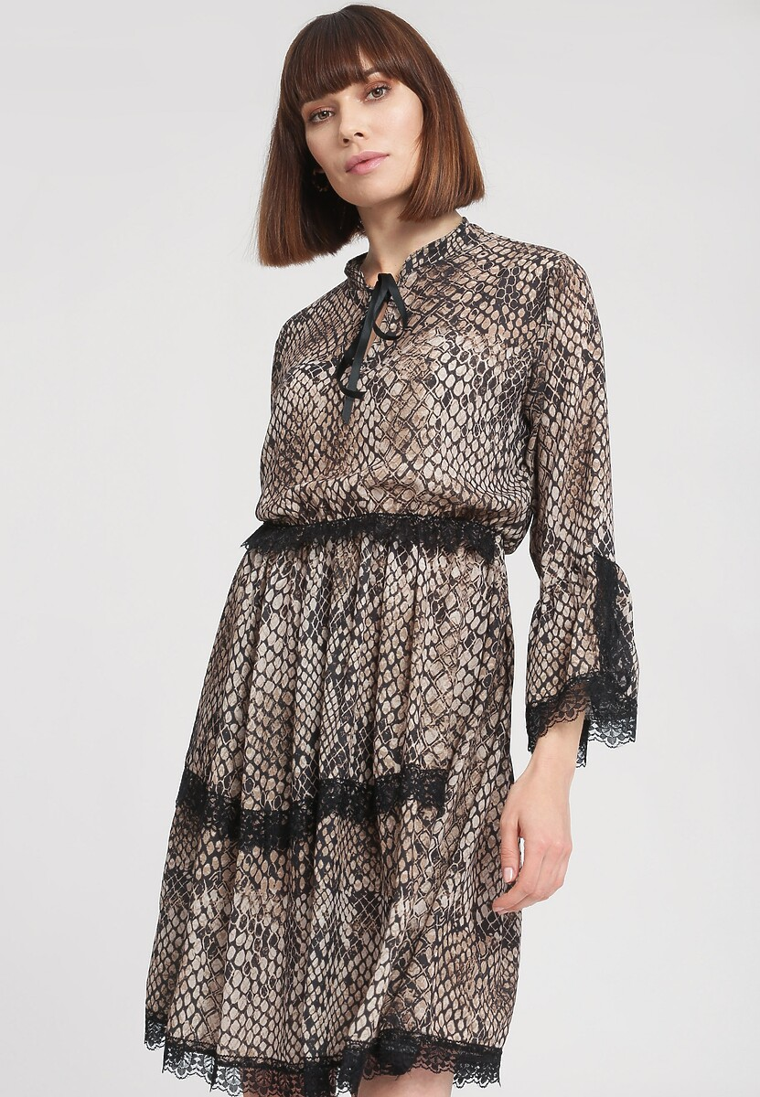 Ciemnobeżowa Sukienka Snakeskin Style