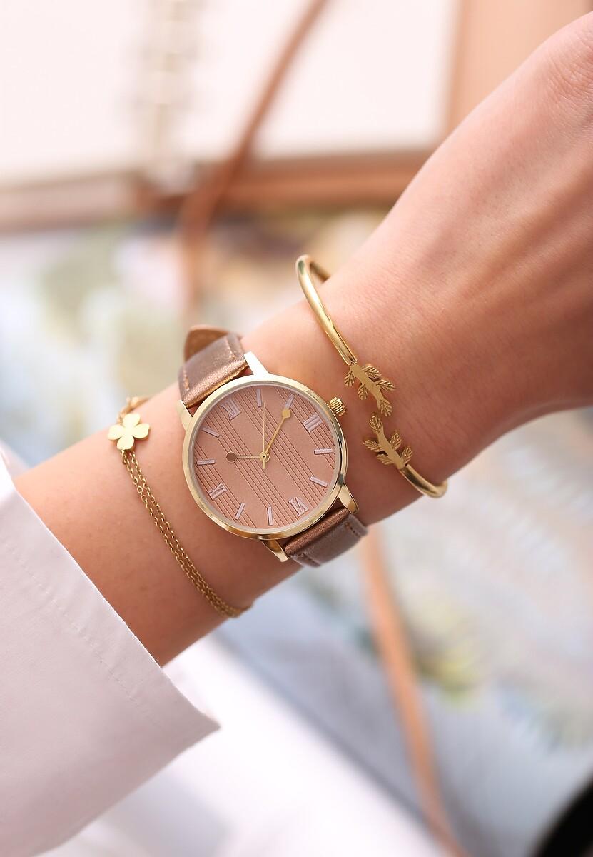Ciemnobeżowy Zegarek Cyclamen
