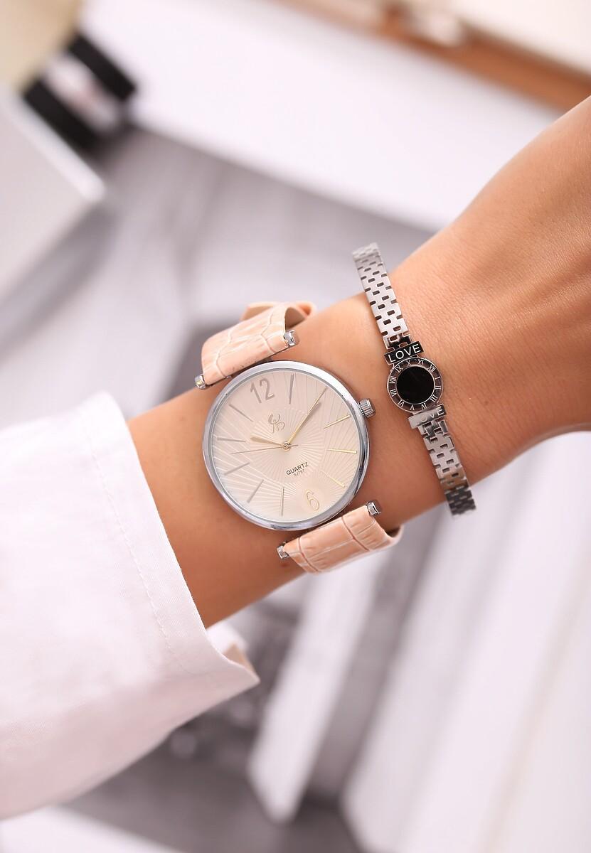 Jasnoróżowy Zegarek Stay Here