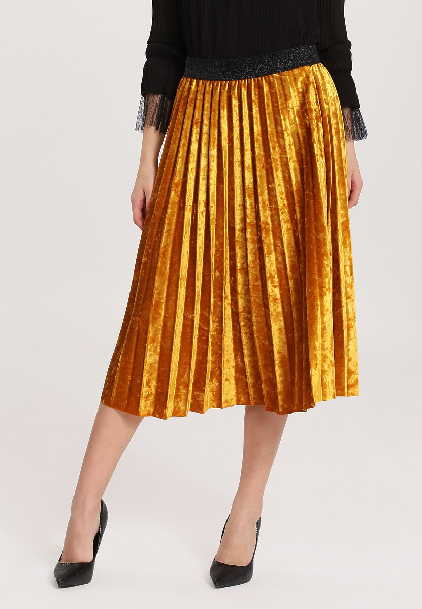 Żółta Spódnica Velor Crushed