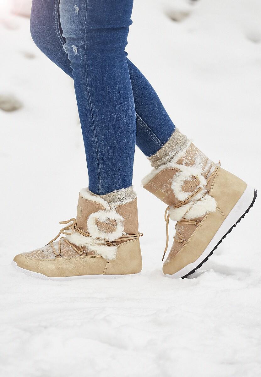 Beżowe Śniegowce Snappy