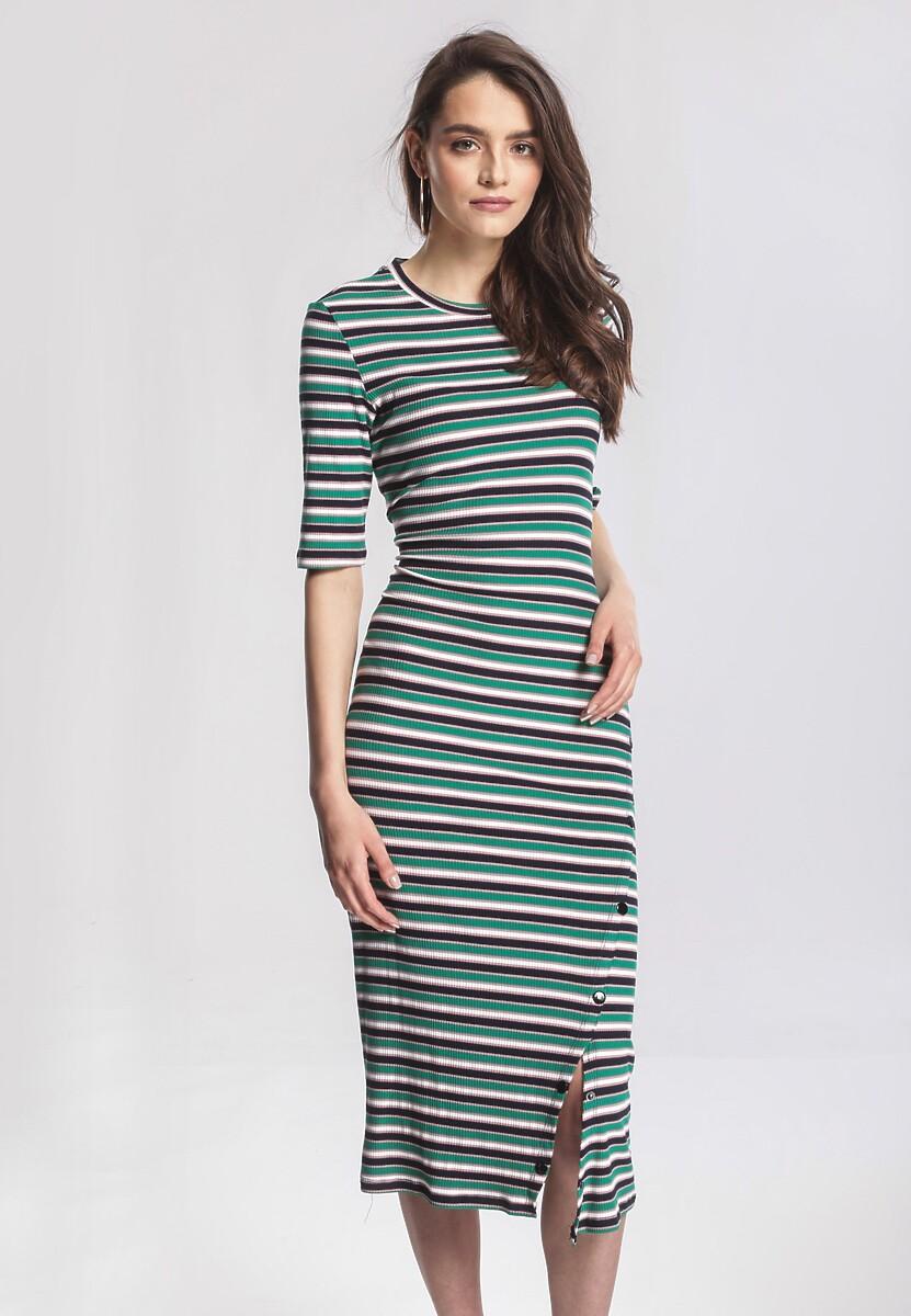 Zielono-Granatowa Sukienka Unmovable
