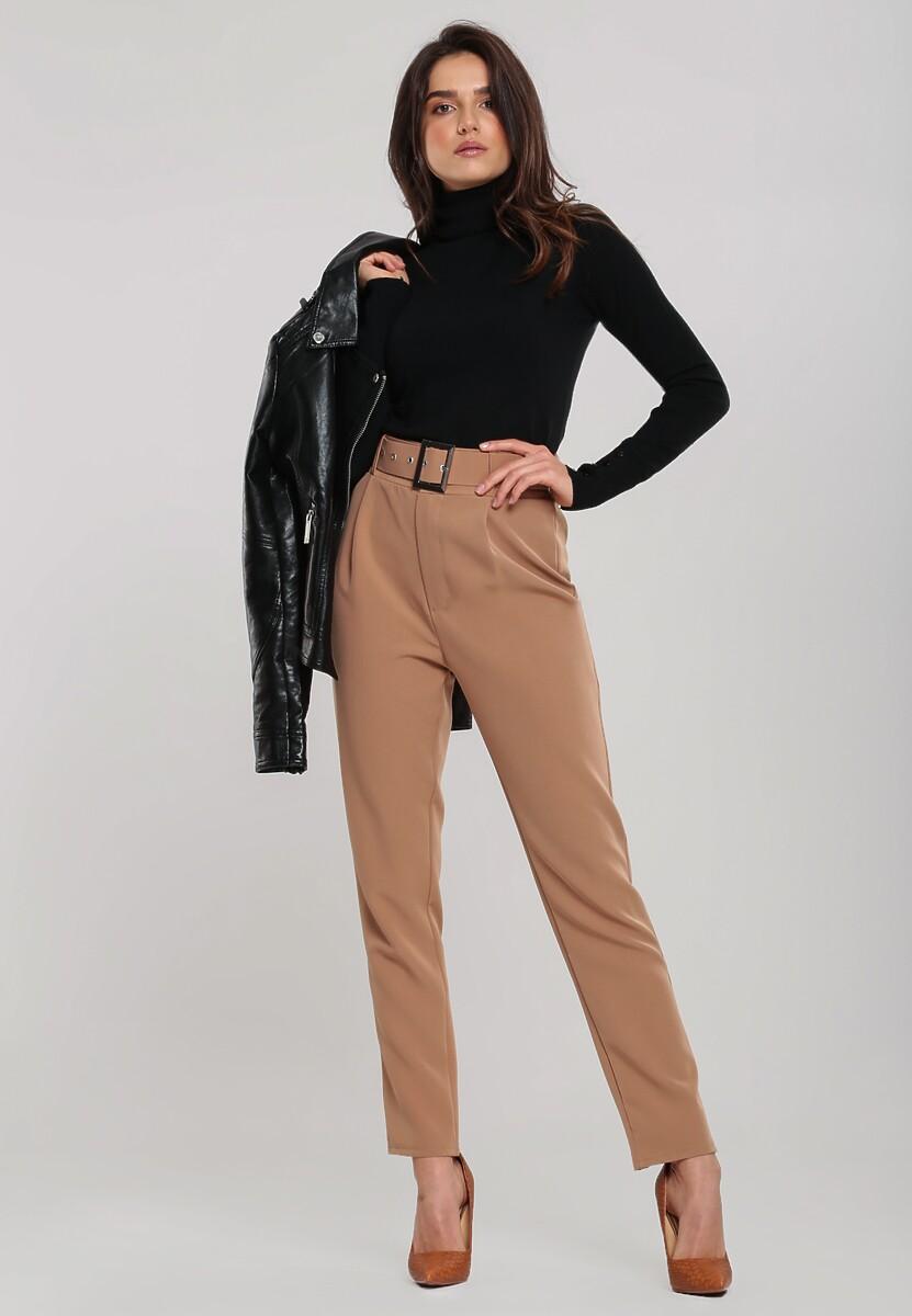 Ciemnobeżowe Spodnie Defined