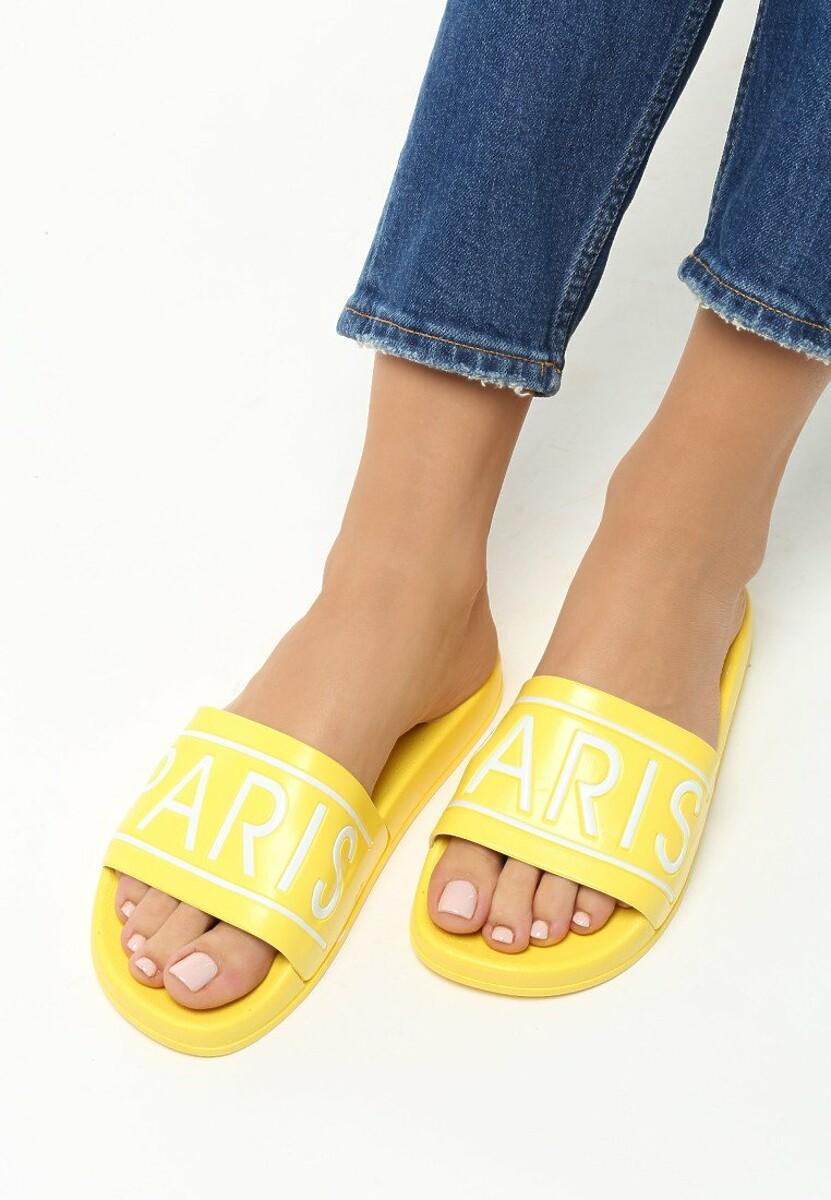 Żółte Klapki Paris Look