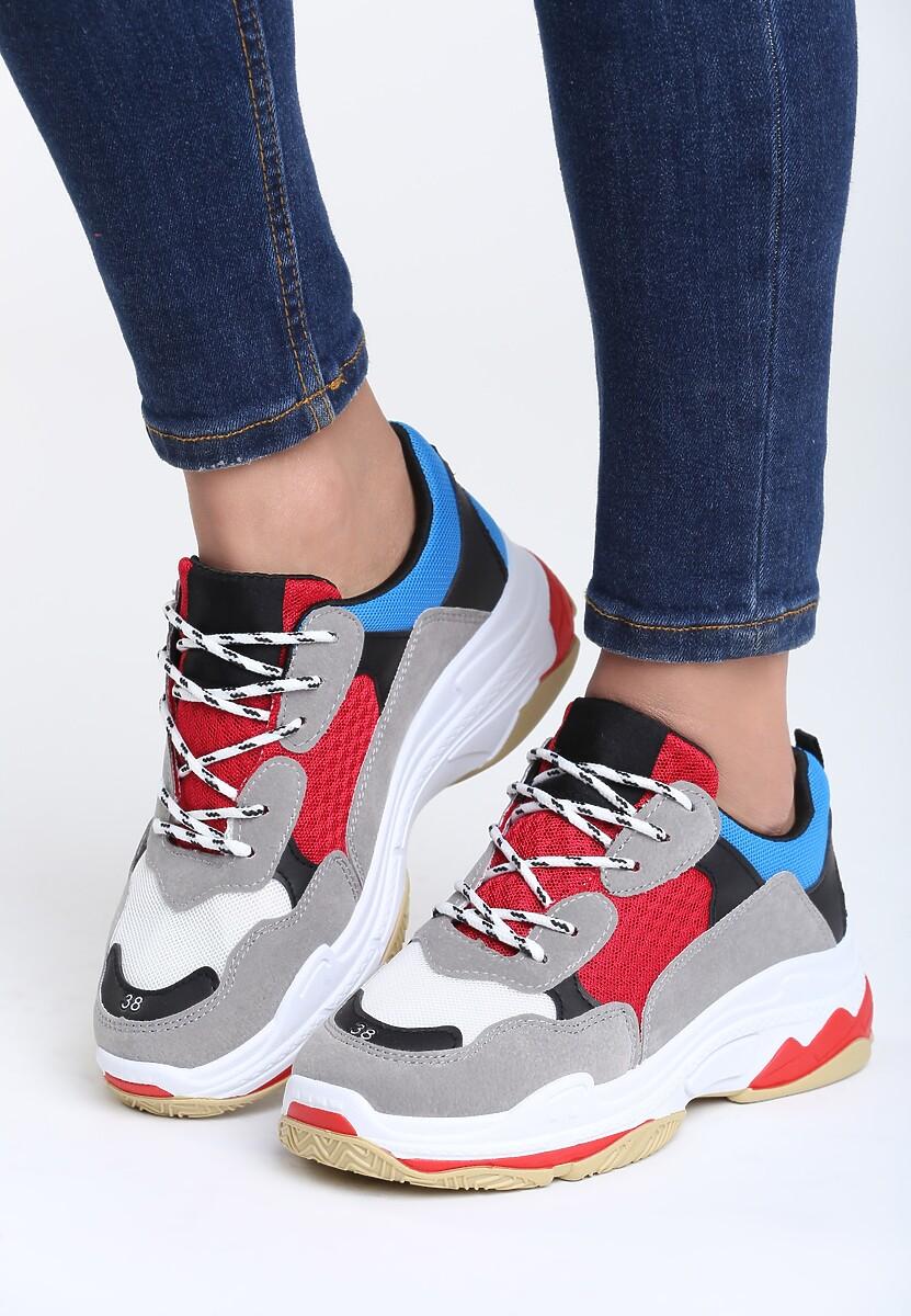 Szaro-Czerwone Sneakersy Wonderwall