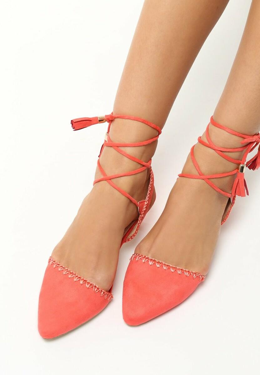 Koralowe Sandały Stiletto