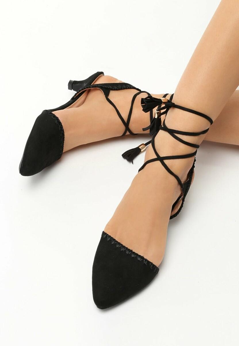 Czarne Sandały Stiletto