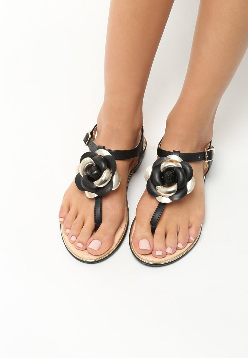 Czarne Sandały Blossom