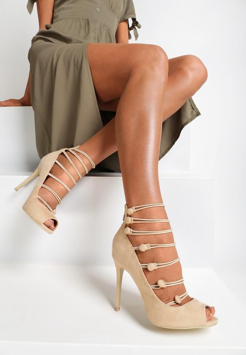 Beżowe Sandały Gingham