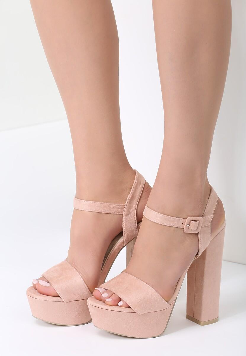 Różowe Sandały Chic Heels