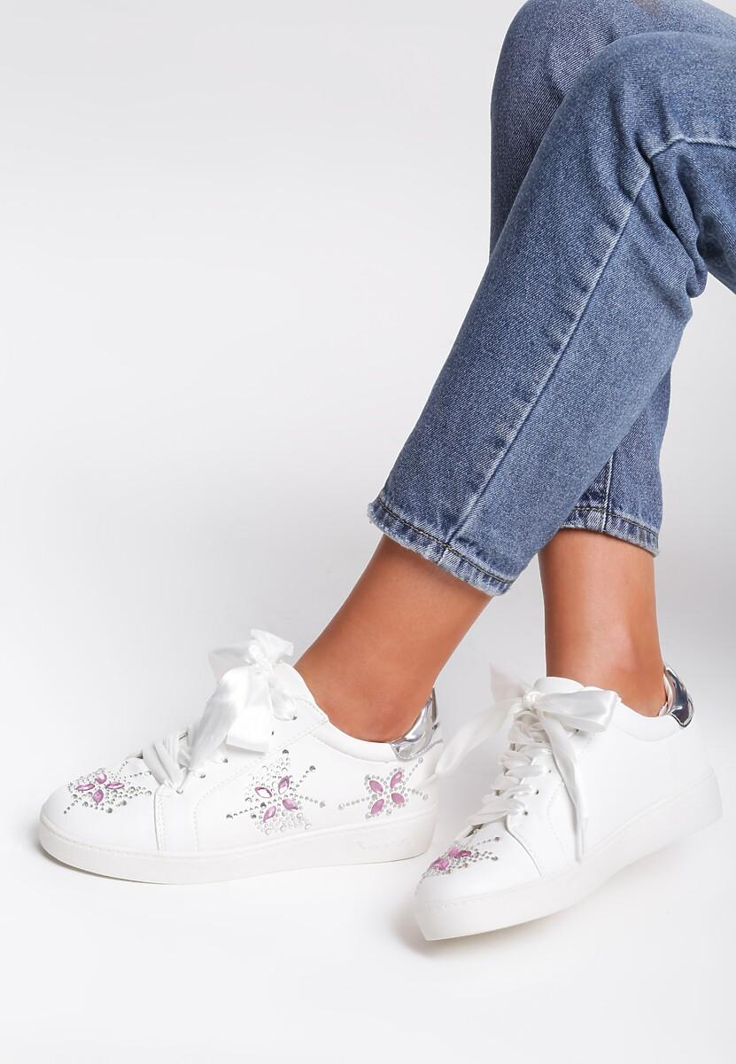 Białe Buty Sportowe Sateen