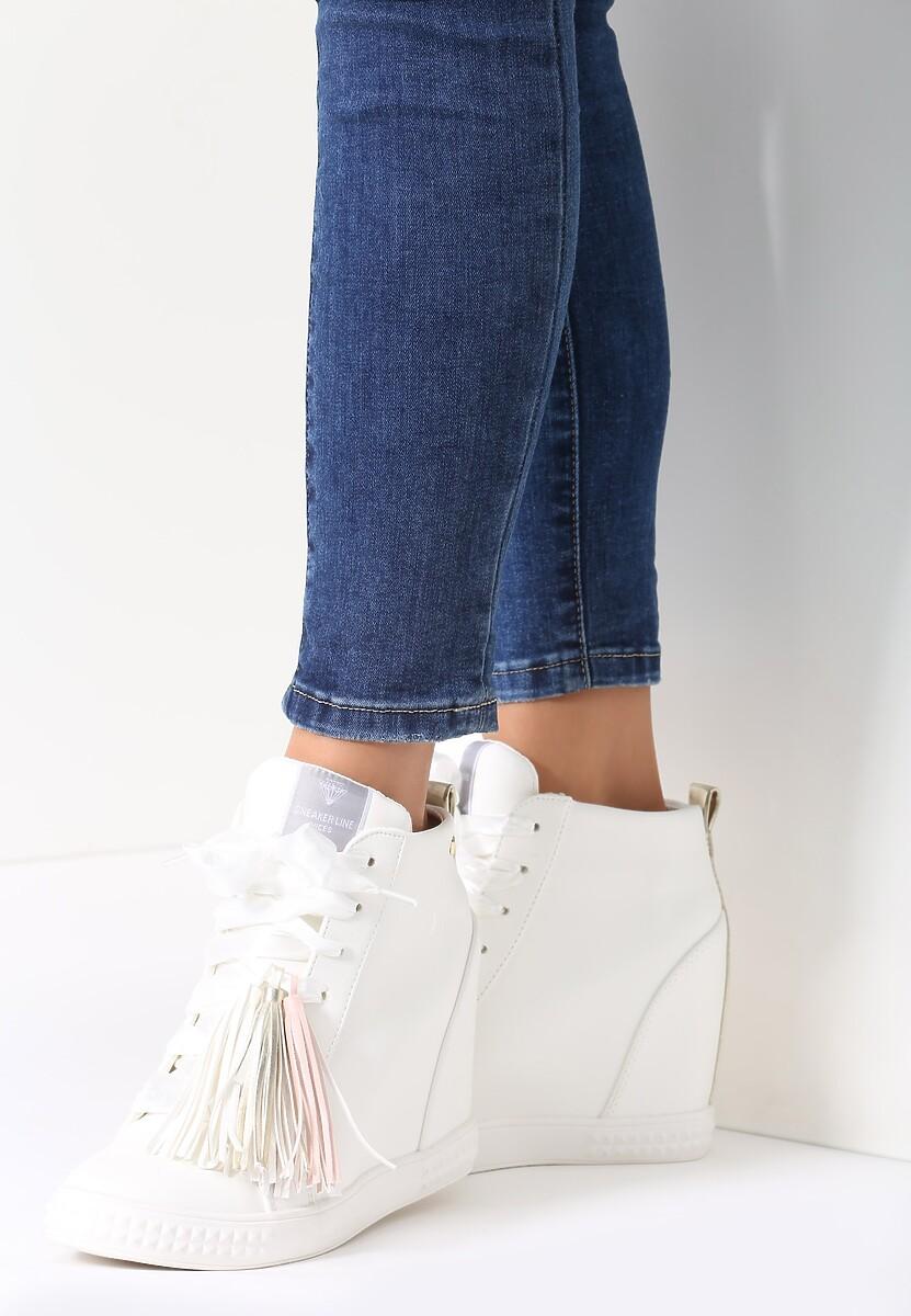 Biało-Złote Sneakersy Glad Moon