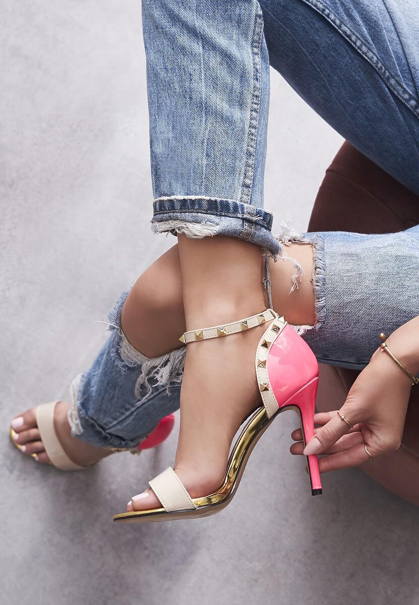 Beżowo-Fuksjowe Neonowe Sandały Pictures Of Vogue