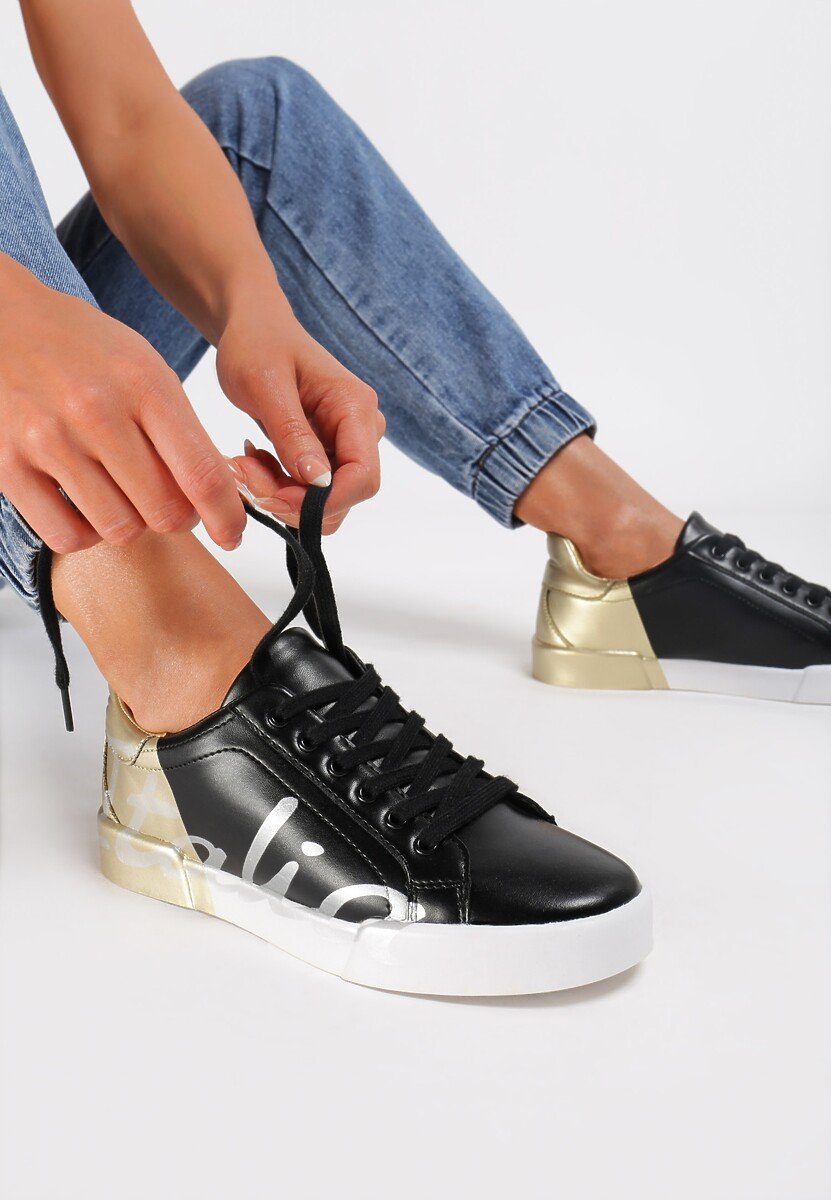Czarno-Złote Sneakersy Hashtag