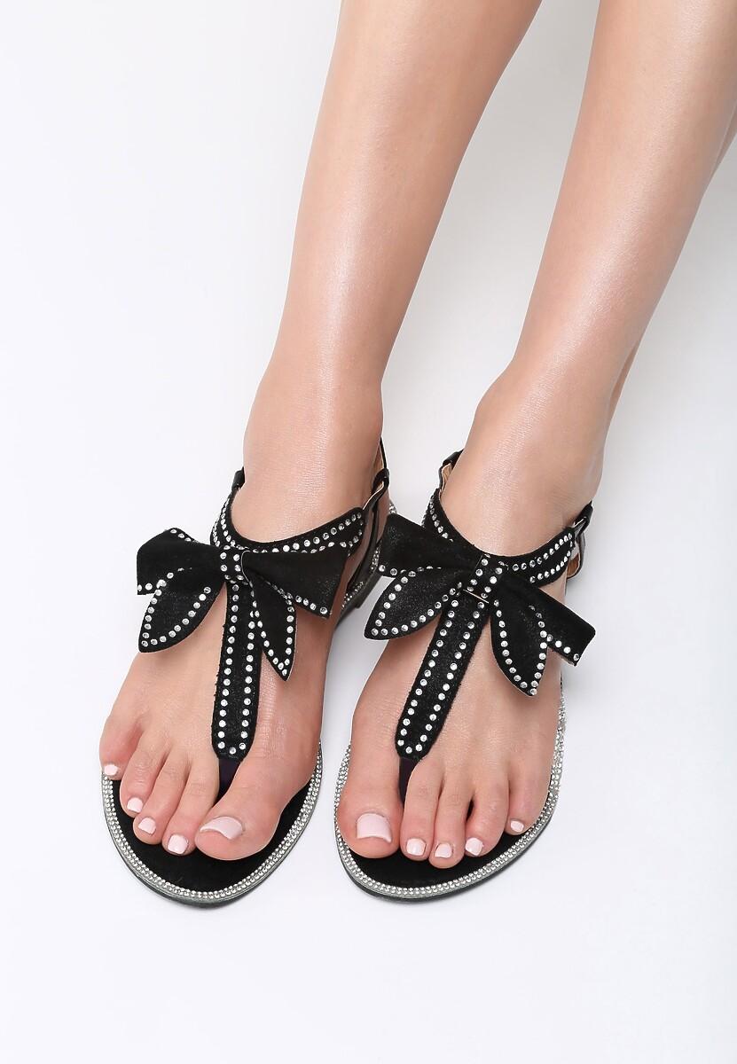 Czarne Sandały Set Me On