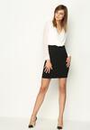 Czarno-Biała Sukienka Neatness