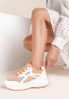 Biało-Pomarańczowe Sneakersy Aaron