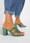 Zielone Wężowe Klapki Saphanoe