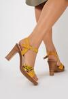 Żółte Wężowe Sandały Sylinara