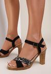 Czarne Wężowe Sandały Sylinara