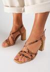 Beżowe Wężowe Sandały Miralina