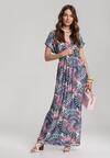 Granatowo-Różowa Sukienka Himellia