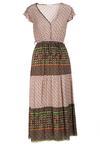 Beżowo-Zielona Sukienka Vivirinia