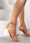 Beżowe Transparentne Sandały Eluliphis