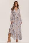 Beżowo-Niebieska Sukienka Guinerinia