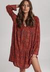 Granatowo-Beżowa Sukienka Genehaneh