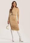 Jasnobeżowa Sukienka Elrintia