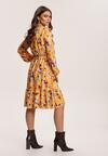 Żółto-Bordowa Sukienka Inoceneia