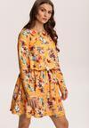 Żółto-Bordowa  Sukienka Zapopa