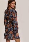 Beżowo-Granatowa Sukienka Cloudymuse