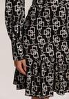 Czarno-Biała Sukienka Leafshine