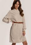 Beżowa Sukienka Z Wełną Shieldgleam