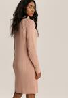 Różowa Sukienka Dzianinowa Orafa