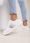 Biało-Beżowe Buty Sportowe Haliciane