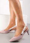 Liliowe Sandały Lamelato