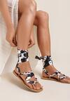 Czarno-Białe Sandały Pethalise