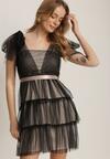 Czarno-Beżowa Sukienka Alaliphis
