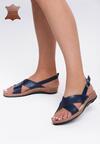 Niebieskie Skórzane Sandały Bad Embrace