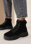 Czarne Zamszowe Sneakersy Chaparral