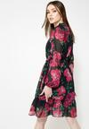 Czarno-Fuksjowa Sukienka Spring Mood