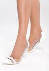 Białe Transparentne Szpilki Paws