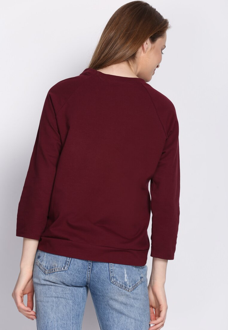 Bordowa Bluza Front Fin