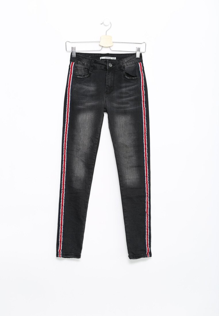 Czarne Jeansy Red Belt