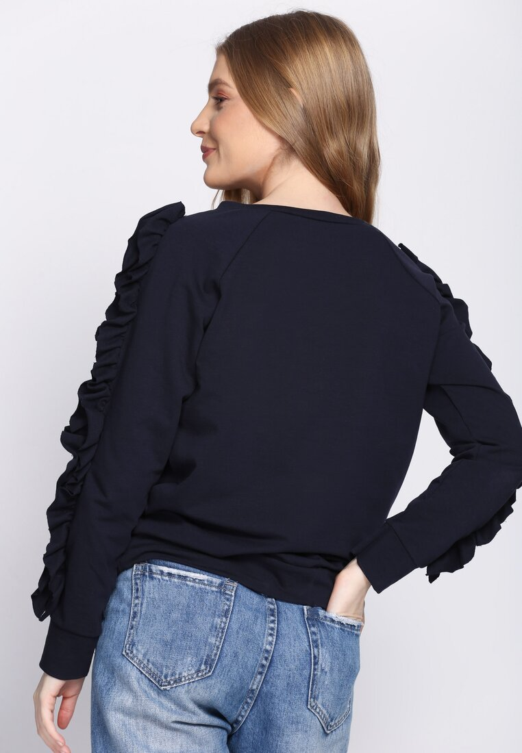 Ciemnogranatowa Bluza Fancy Sleeves
