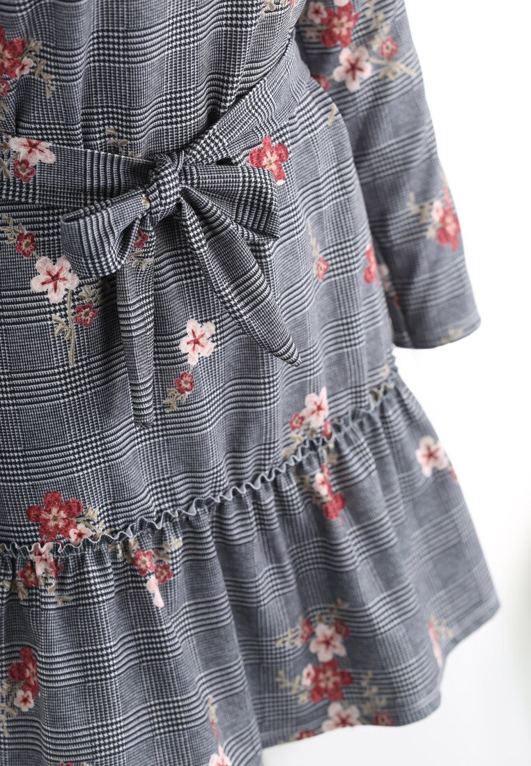 Szaro-Bordowa Sukienka Second Love