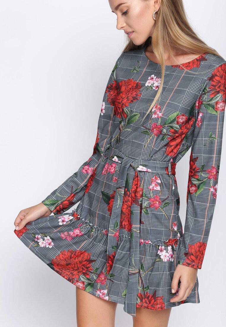 Czerwono-Szara Sukienka Caro Flowers